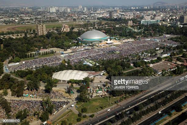 Aerial picture taken during the openair mass officiated by Pope Francis at O'Higgins Park in Santiago on January 16 2018 The pope landed in Santiago...