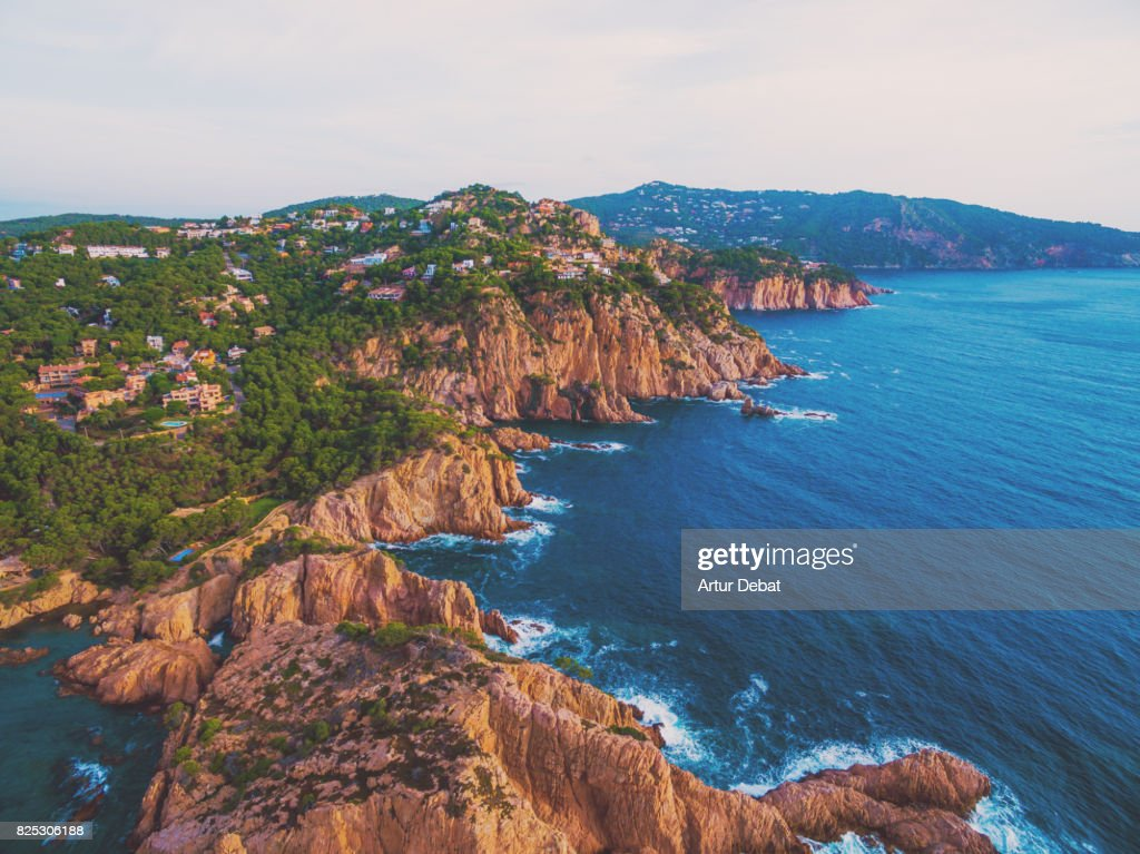 Aerial picture taken with drone flying over the stunning Costa Brava in the Mediterranean Sea with rocky terrain and stunning landscape. : Stock Photo