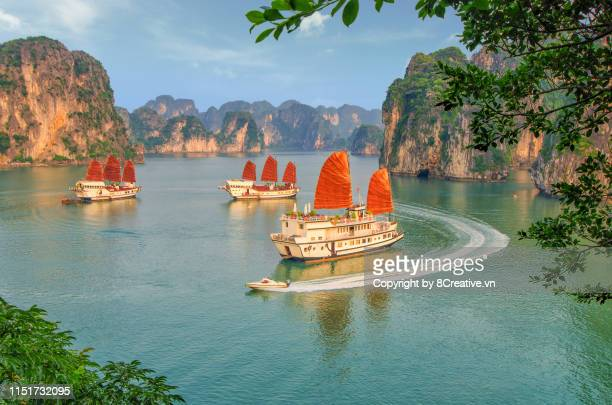 aerial picturesque scenery with luxury cruises (sail boat) in ha long bay, quang ninh, vietnam (halong) - vietnam stockfoto's en -beelden