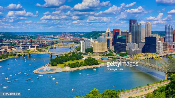 aerial pittsburgh skyline - pennsylvania stock pictures, royalty-free photos & images