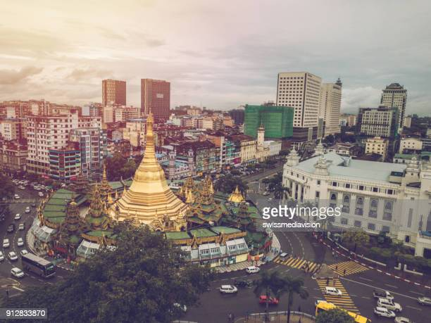 aerial point of view of sule pagoda in yangon city, myanmar - yangon stock pictures, royalty-free photos & images