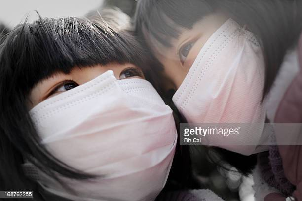 aerial pollution shanghai china - chinese mask stock photos and pictures