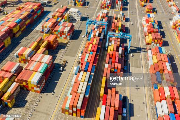 aerial port of long beach container yard - long beach california stock photos and pictures