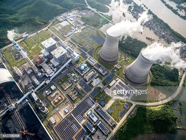 aerial power plant - carbon dioxide stock photos and pictures