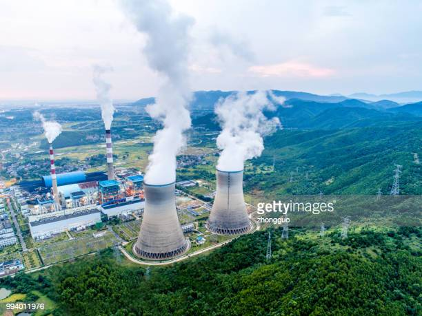 aerial power plant - cooling tower stock pictures, royalty-free photos & images