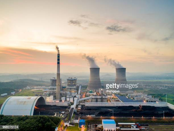 aerial power plant - vaseline stock pictures, royalty-free photos & images