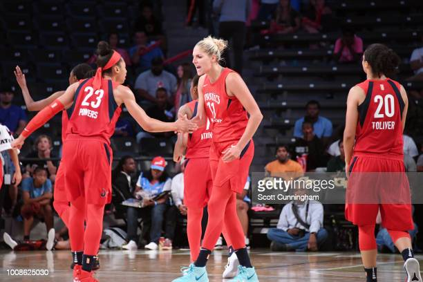 Aerial Powers and Elena Delle Donne of the Washington Mystics high five during the game against the Atlanta Dream on July 31 2018 at McCamish...