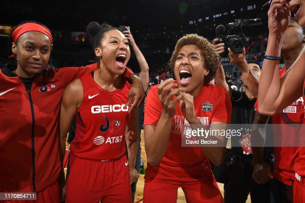 Aerial Powers and Tianna Hawkins of the Washington Mystics celebrate after Game Four of the 2019 WNBA Semifinals against the Las Vegas Aces on...