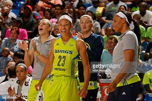 Aerial Powers of the Dallas Wings celebrates with her teammates during the game against the Los Angeles Sparks on June 11 2016 at College Park Center...