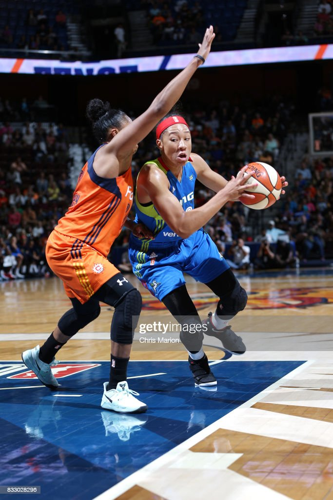 Aerial Powers #23 of the Dallas Wings handles the ball against the Connecticut Sun on August 12, 2017 at Mohegan Sun Arena in Uncasville, CT.