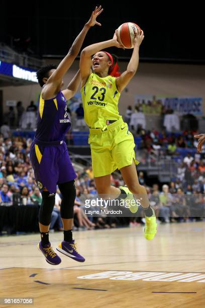 Aerial Powers of the Dallas Wings shoots the ball against the Los Angeles Sparks on June 22 2018 at the College Park Center in Arlington Texas NOTE...