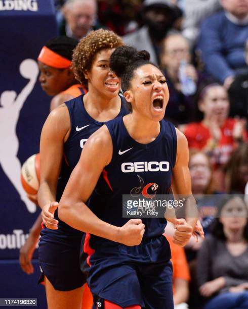 Aerial Powers of the Washington Mystics reacts during action against the Connecticut Sun in the third quarter of Game 3 of the WNBA Finals at Mohegan...