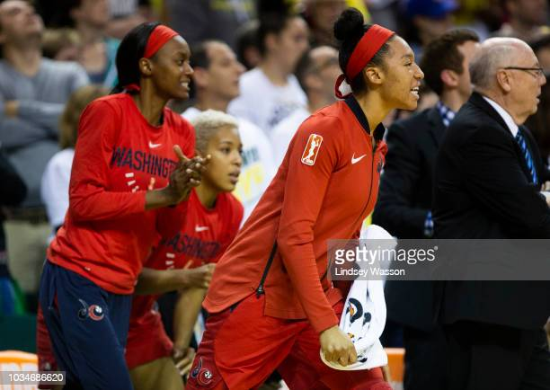 Aerial Powers of the Washington Mystics yells from the bench during the second half of Game 2 of the WNBA Finals at KeyArena on September 9 2018 in...