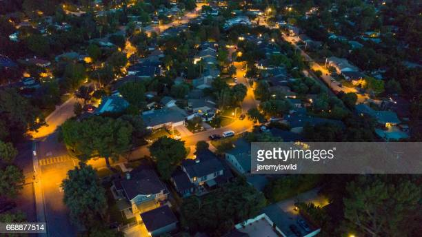 Aerial Residential Neighborhood at Night