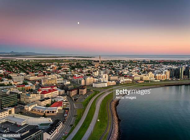 aerial reykjavik skyline, iceland - reykjavik stock pictures, royalty-free photos & images