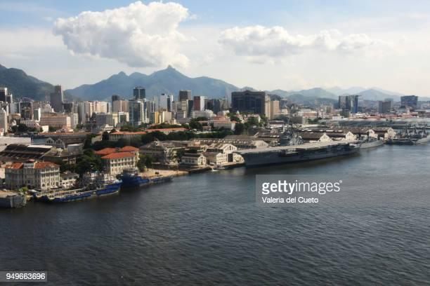 Aerial Rio Harbour navy ship