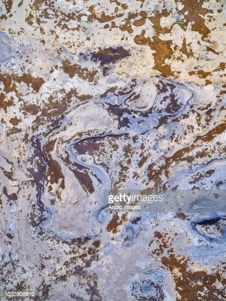 aerial - riverbeds, black sands and erosion , northern iceland - rock strata stock pictures, royalty-free photos & images