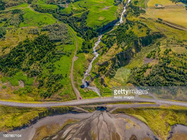 Aerial- Road by the Waterfall Fossa, Hvalfjord, Iceland