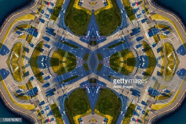 aerial - roads in reykjavik, iceland - image foto e immagini stock