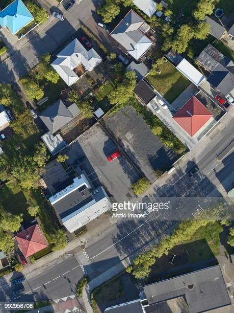 Aerial - Roof tops, Neighborhood of Reykjavik, Iceland