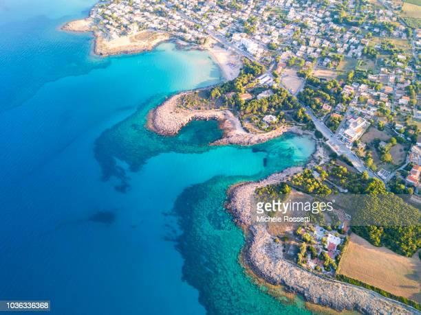 aerial salento - baia foto e immagini stock