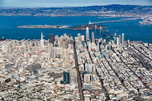 Aerial San Francisco Market St Ka
