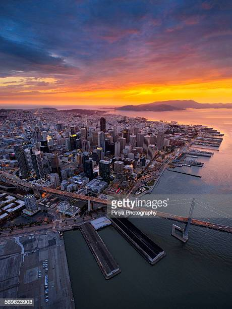 aerial san francisco - oakland bay bridge stock pictures, royalty-free photos & images