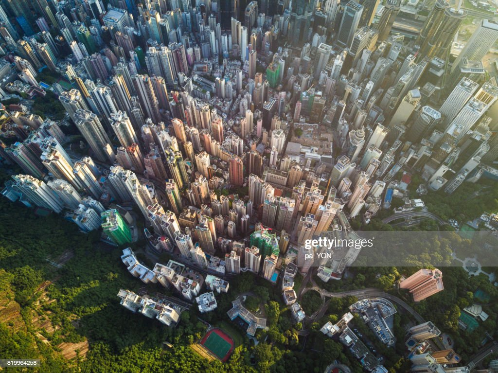 Aerial scene of Hong Kong : Stock Photo