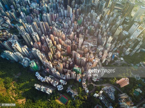 aerial scene of hong kong - kowloon peninsula stock pictures, royalty-free photos & images