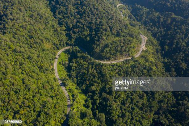 Aerial scene of street and Road in mountain landscape in Day time