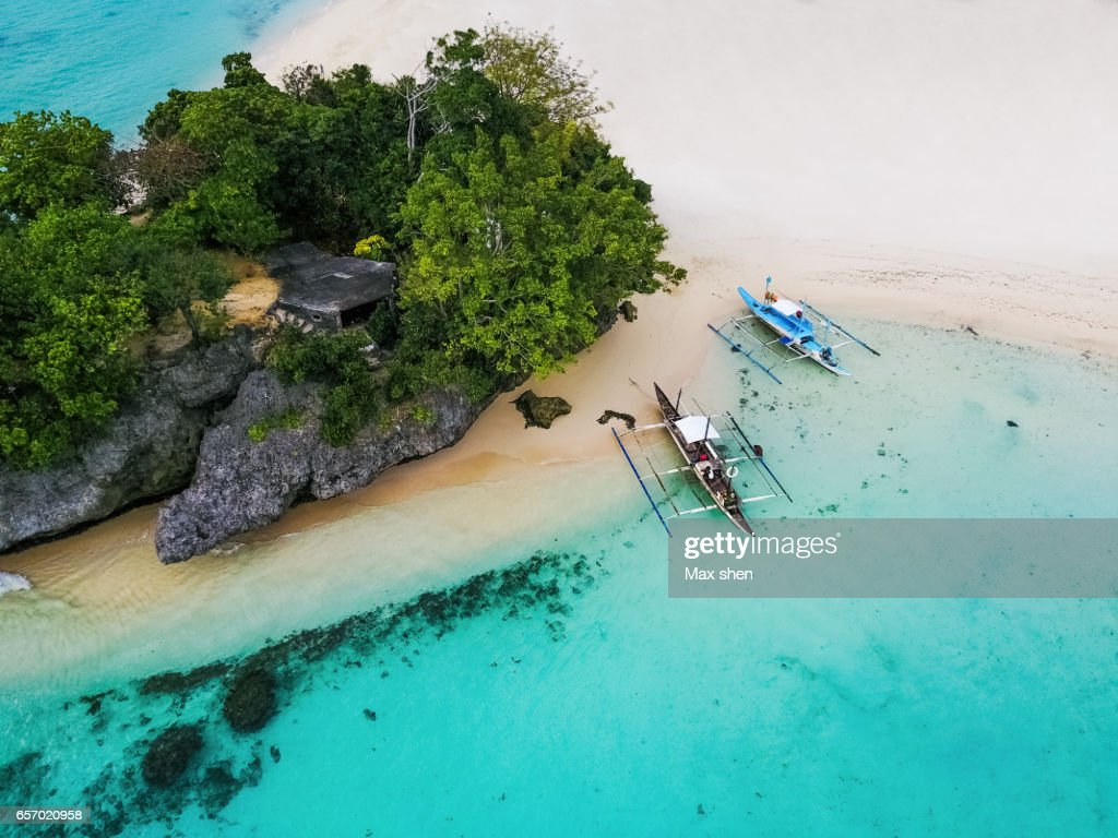 Aerial scenic of the beach at Boracay : Stock Photo