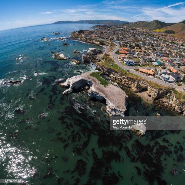 aerial scenic view of pismo beach, the small city on the pacific ocean, californian west coast, in the sunny spring day. the cliff with grottos covered be seabirds' nests. driftweeds floating in the transparent clear water. high-resolution vertical stitch - pismo beach stock pictures, royalty-free photos & images