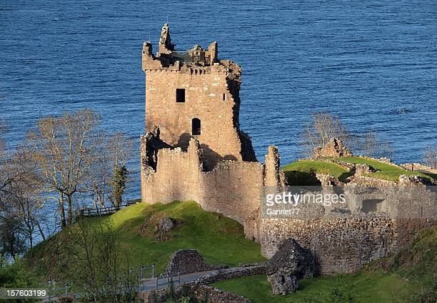 Aerial scenic view of Urquhart Castle in Loch Ness Scotland
