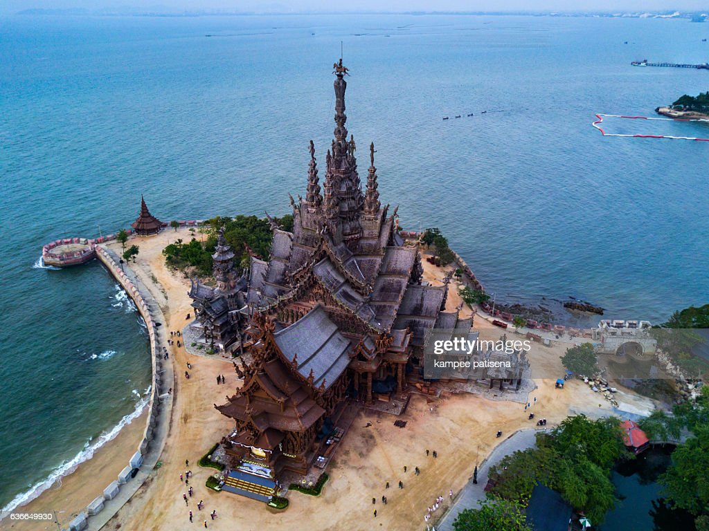 Aerial shoot of Ancient sanctuary in Pattaya. : Stock Photo