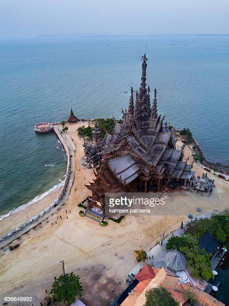 Aerial shoot of Ancient sanctuary in Pattaya.