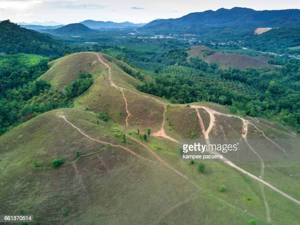 Aerial shoot of Bald mountain ,Grass Mountain, Grass Mountain is called Khao Hua Lon or Phu Khao Ya by the locals of Ranong Thailand.