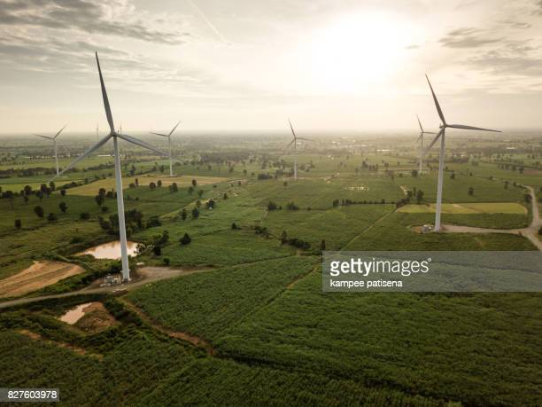 Aerial shoot of Wind turbines generating electricity. energy conservation concept