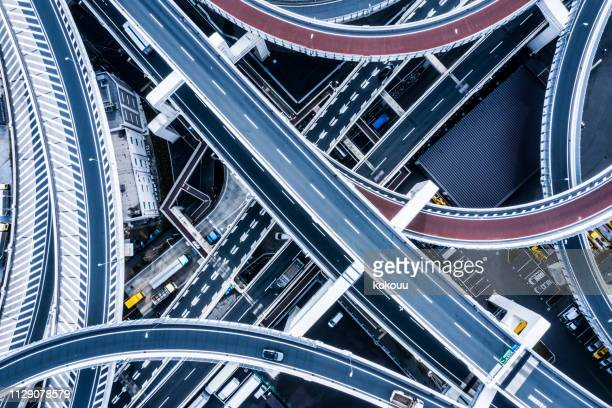 aerial shooting in the junction area.a highway in japan. - flyover stock pictures, royalty-free photos & images
