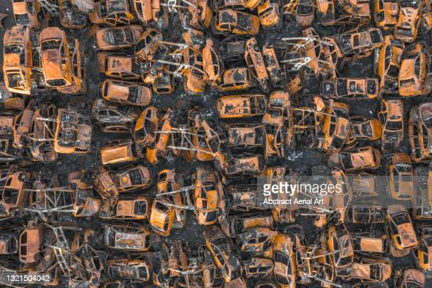 aerial shot above a car junkyard, middlesbrough, england, united kingdom - rusty old car stock pictures, royalty-free photos & images