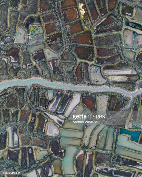 Aerial shot above oyster farms, La Tremblade, France