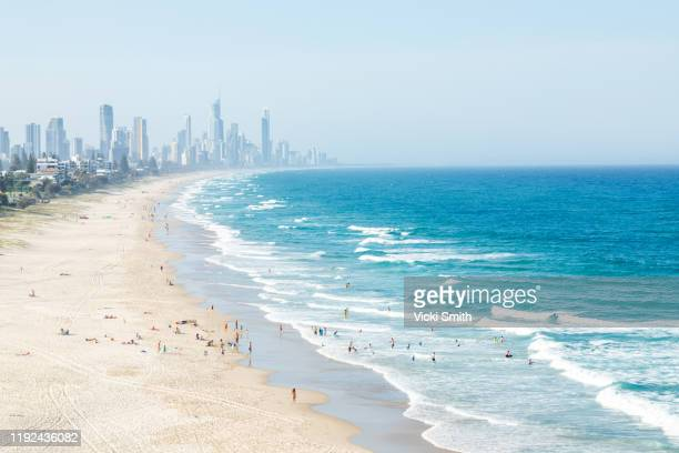 aerial shot above people swimming in the surf and on the beach with city views in the background - gold coast stockfoto's en -beelden
