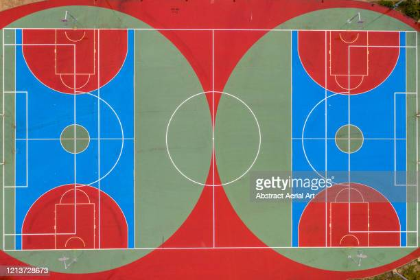 aerial shot directly above two empty sports courts, pamplona, spain - draft sports stock pictures, royalty-free photos & images