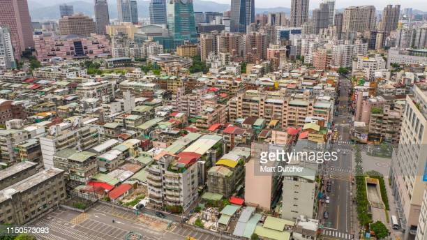 aerial shot downtown district taipei, taiwan - 台北市 ストックフォトと画像