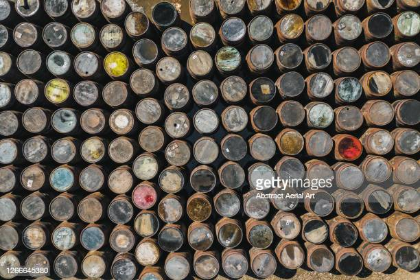 aerial shot looking down on old alcohol barrels, scotland, united kingdom - stack stock pictures, royalty-free photos & images