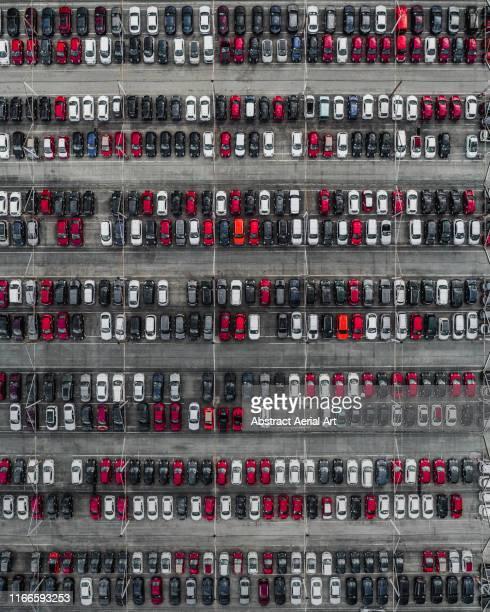 Aerial shot of a car dealership, France