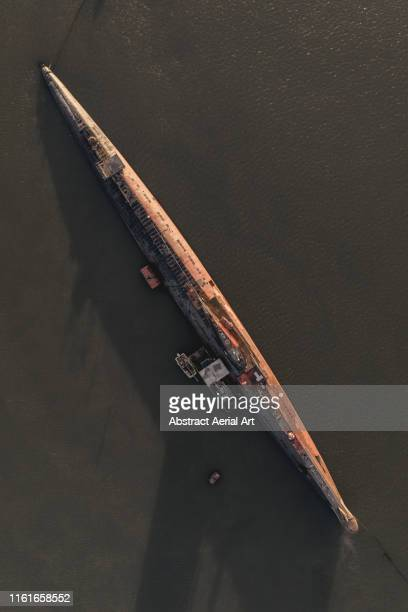 aerial shot of a submarine, river medway, united kingdom - submarine photos stock pictures, royalty-free photos & images