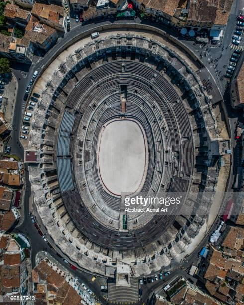 aerial shot of an amphitheater, arles, france - 円形劇場 ストックフォトと画像