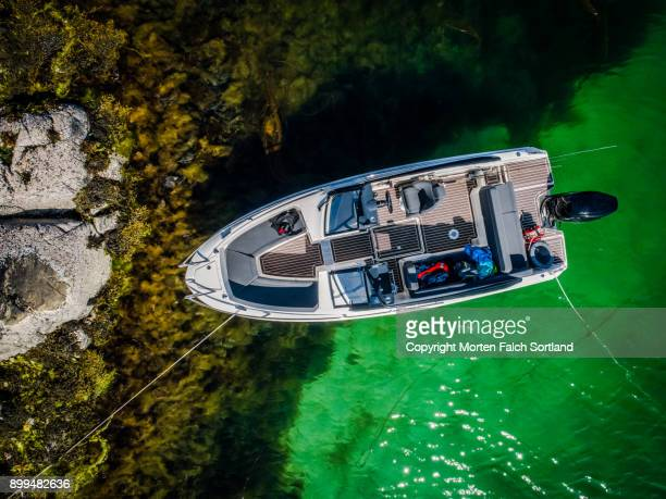 Aerial shot of an island cove
