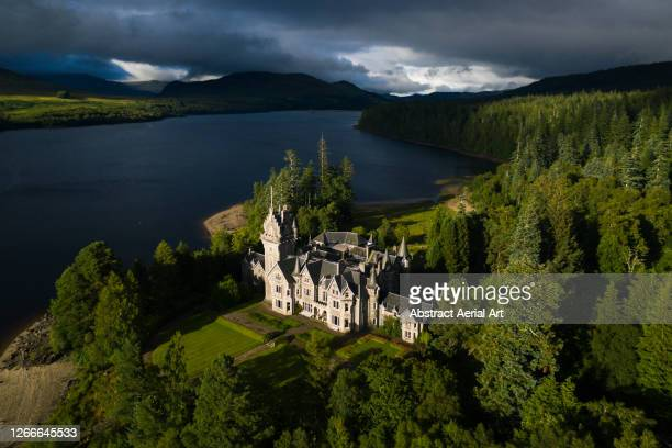 aerial shot of ardverikie house, scottish highlands, united kingdom - grounds stock pictures, royalty-free photos & images