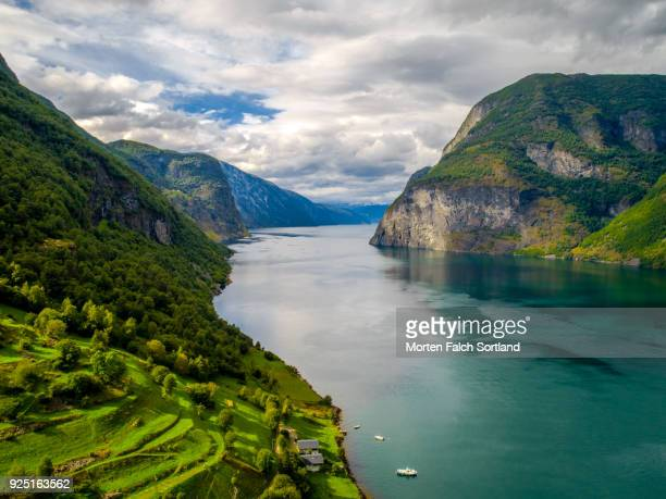 Aerial Shot of Aurlandsfjord, Norway on a Summer Afternoon